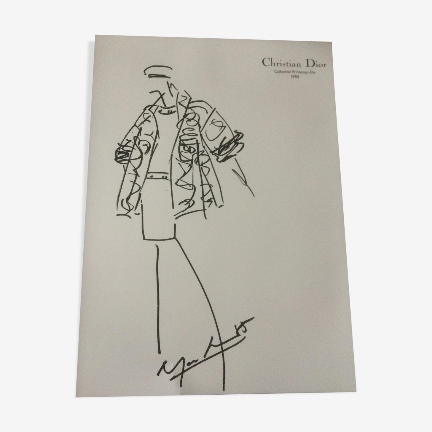 Croquis de mode Christian dior vintage et sa photographie de presse