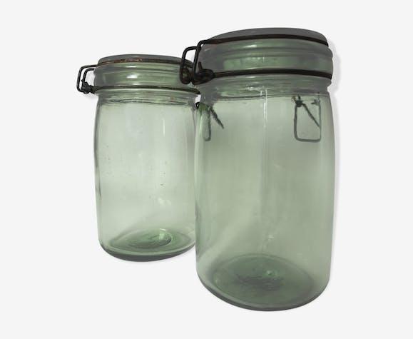 Paire de bocaux en verre 1l