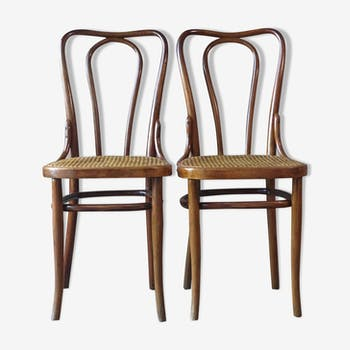 Lot de 2 chaises bistrot cannées de Kohn 1910 N°48 B