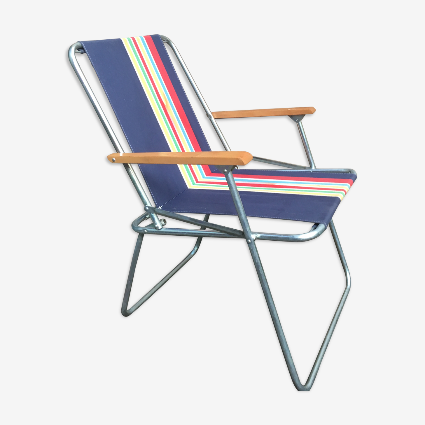 Chaise Camping Pliable Retro Tissu Bleu Vintage Phswq7j
