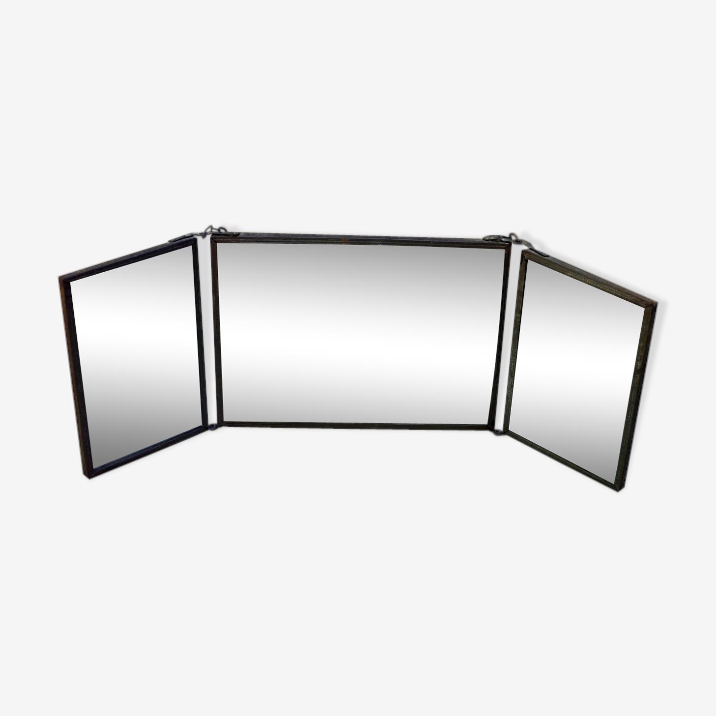 Miroir de barbier triptyque 42x15cm