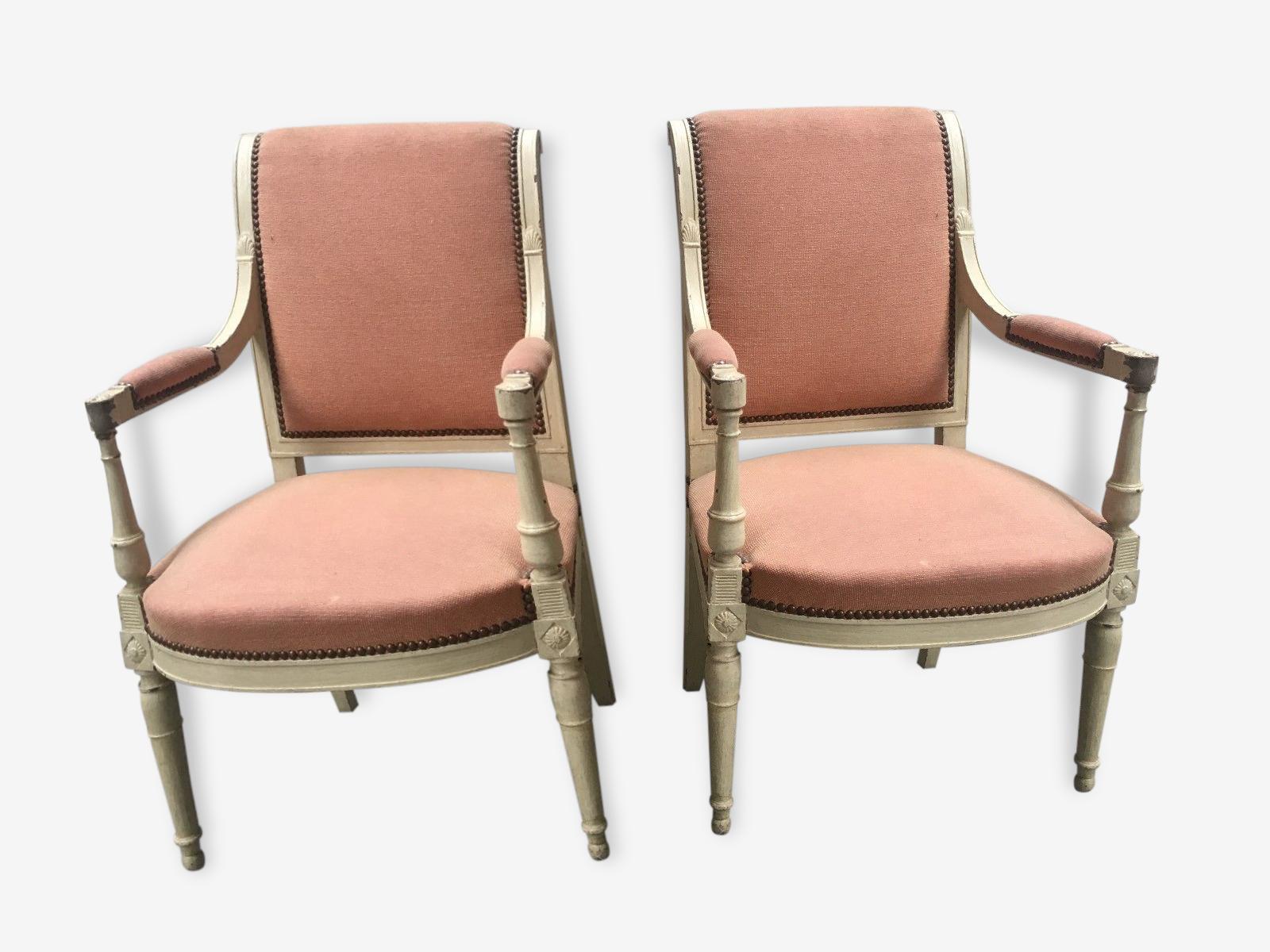 Style Directoire belle paire de fauteuils de style directoire - bois (matériau