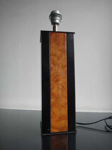 Lampe de table design loupe d'orme des années 1970