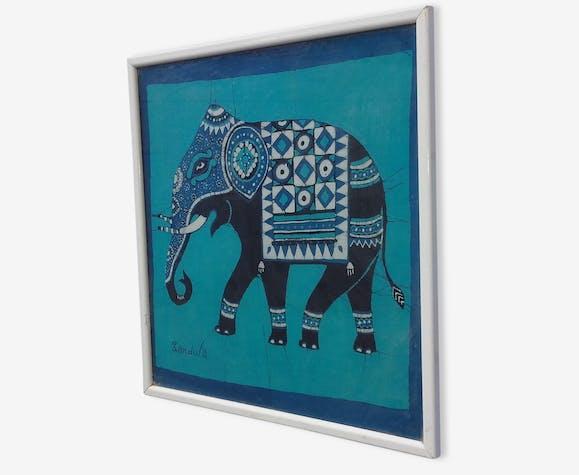cadre elephant bleu en tissus et bois inspiration indienne ethnique - Cadre Elephant
