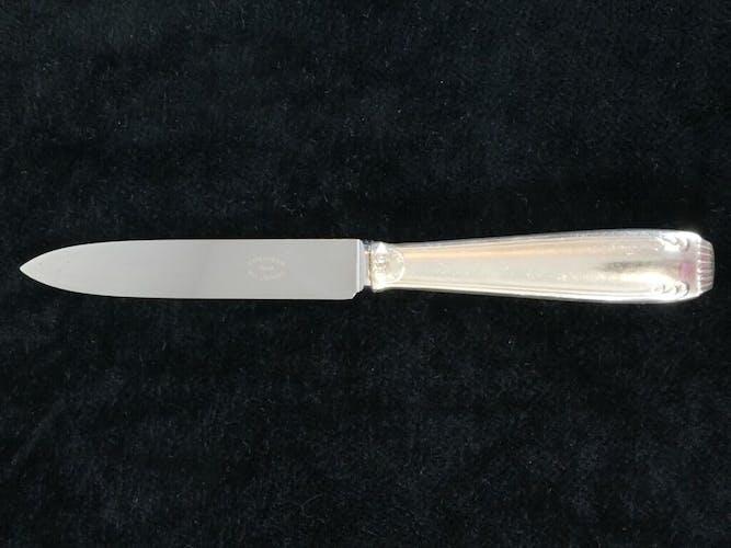 Set de 12 couteaux a dessert Boulenger en metal argenté lame inox modele regence berry