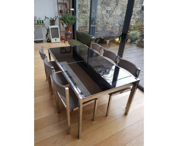 Table chrome and glass with 6 chairs, Milo Baughman 90x170cm - 230cm