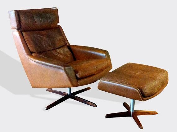 Authentique fauteuil pivotant et son ottoman palissandre cuir