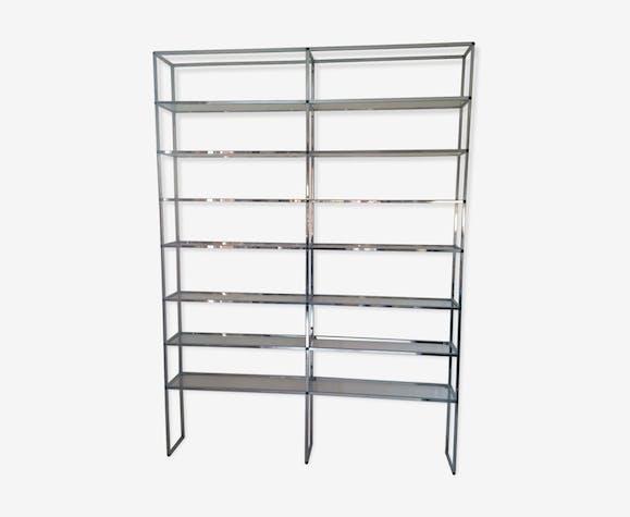 Bookcase In Chrome And Glass 1970 Roche Bobois Metal