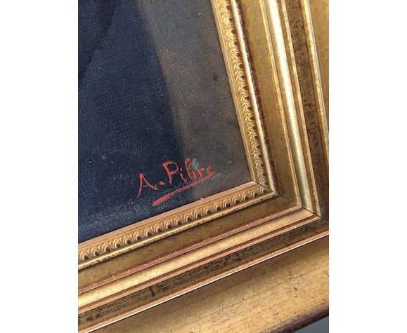 Huile sur toile signée Pibre, portrait de notable