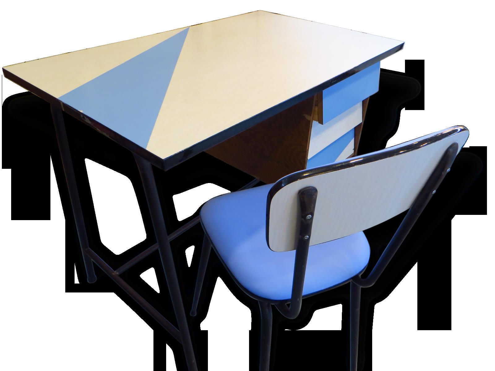 Petit bureau en formica et sa chaise formica vintage