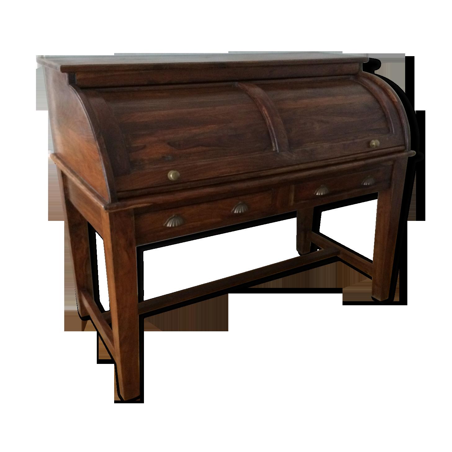 Secrétaire en bois exotique style colonial bois matériau