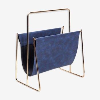 Blue leather magazine holder