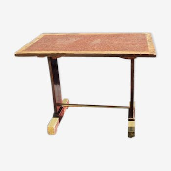 Wooden and brass bistro table