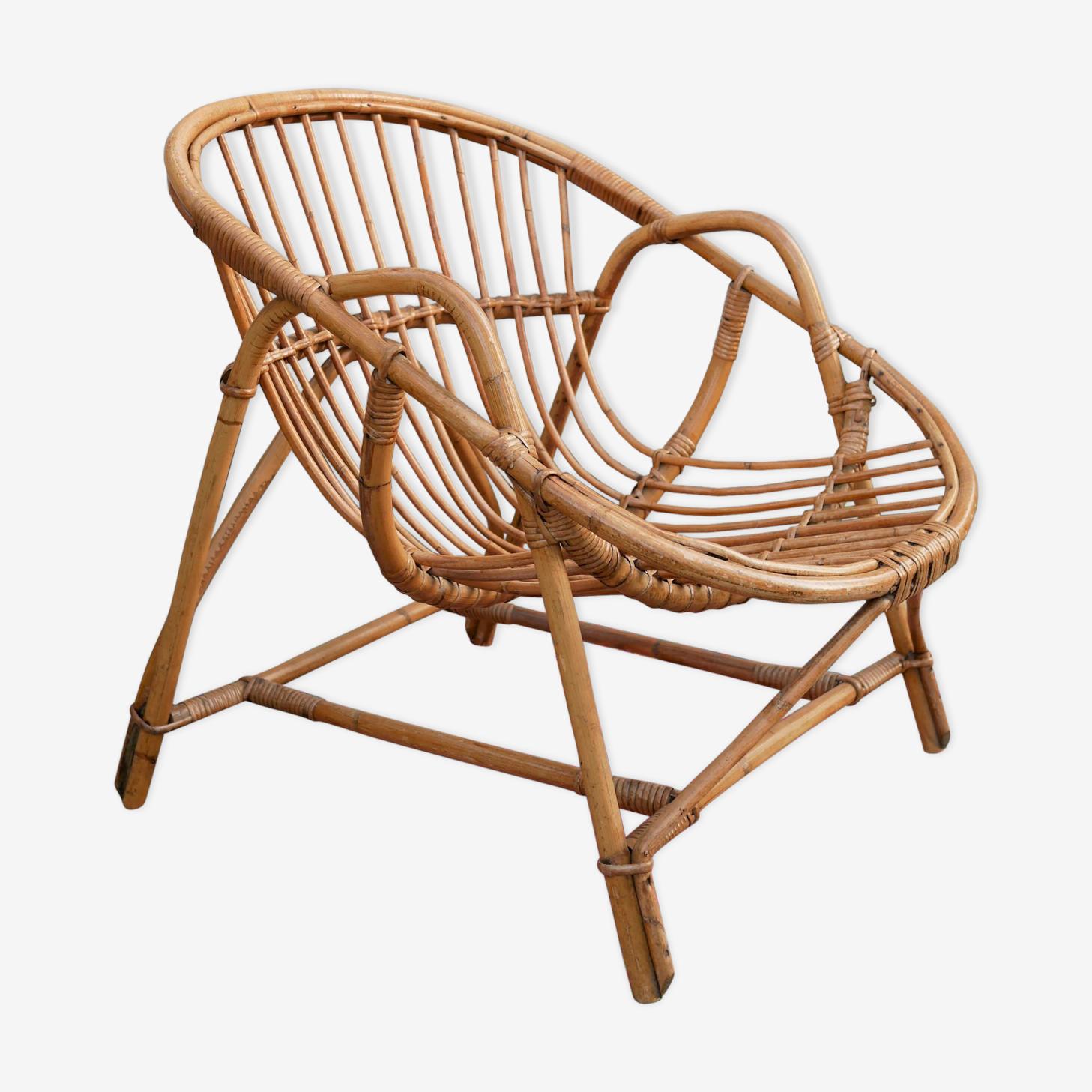 """Shell"" vintage armchair rattan"
