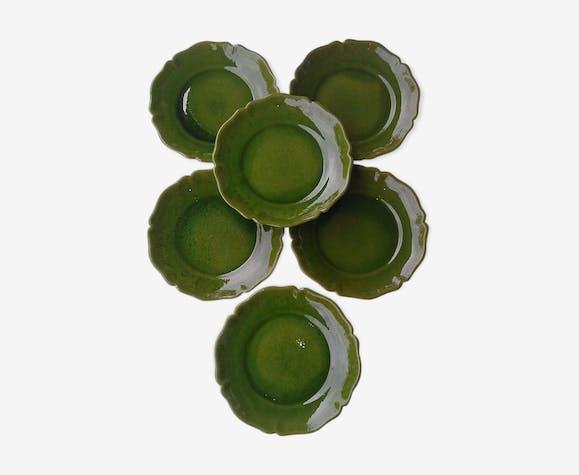 Set de 6 assiettes plates Biot vertes