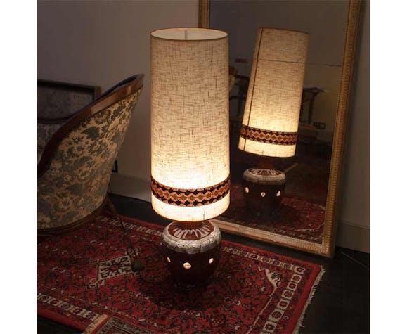 Lampe de sol années 1970, pied en céramique et abat jour