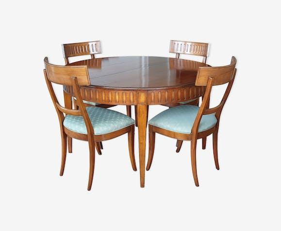 Salle à manger complète table ronde 130 avec rallonge 70 4