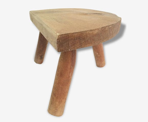 tabouret en bois traite des vaches tripode chaise enfant si ge vintage bois mat riau bois. Black Bedroom Furniture Sets. Home Design Ideas