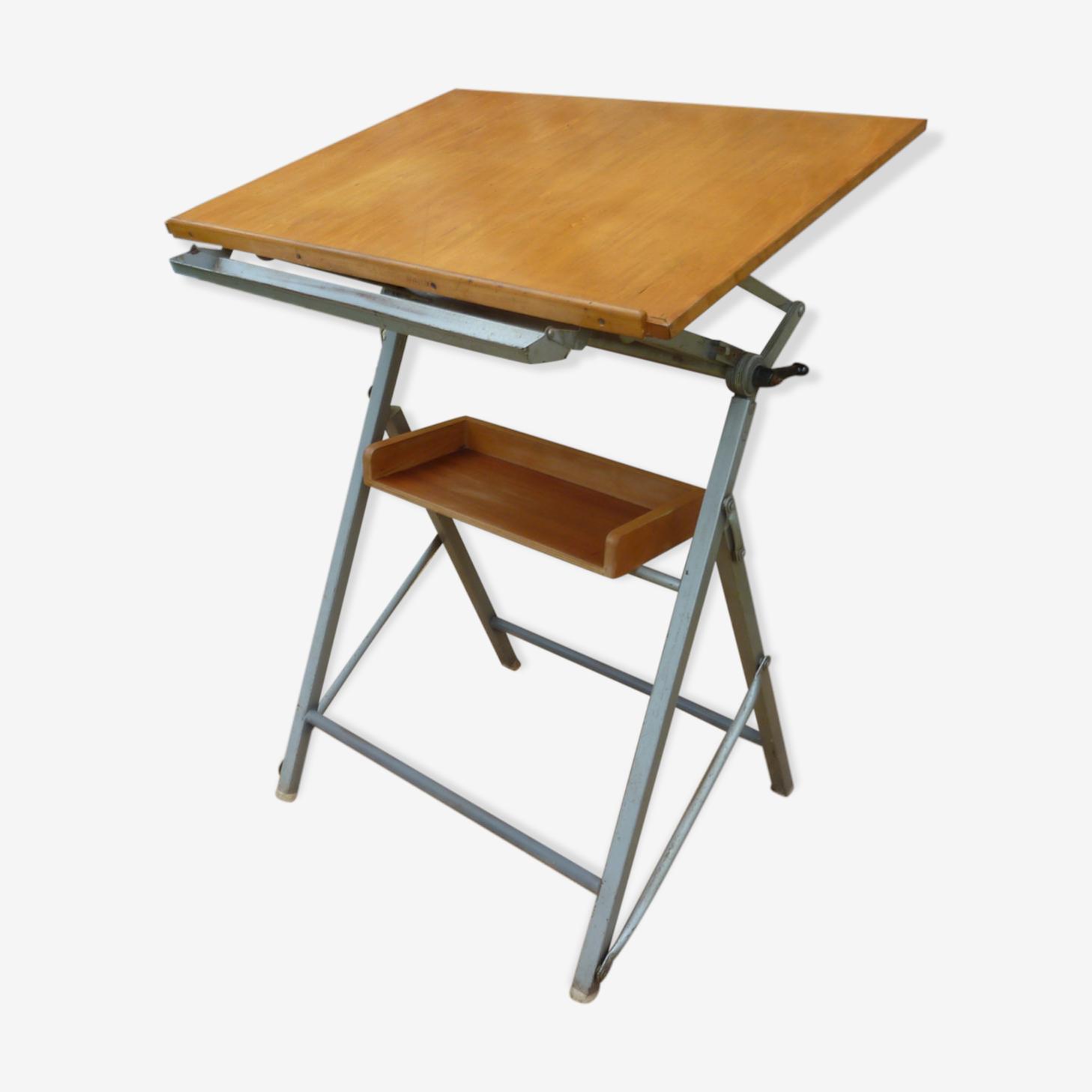 Table D Architecte En Bois table d'architecte industrielle en bois et métal années 50-60