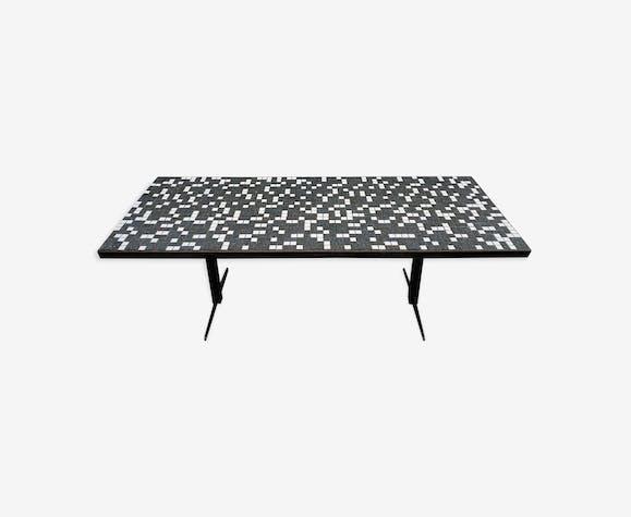 Table basse rectangulaire en mosaique et métal 1960 - métal ...