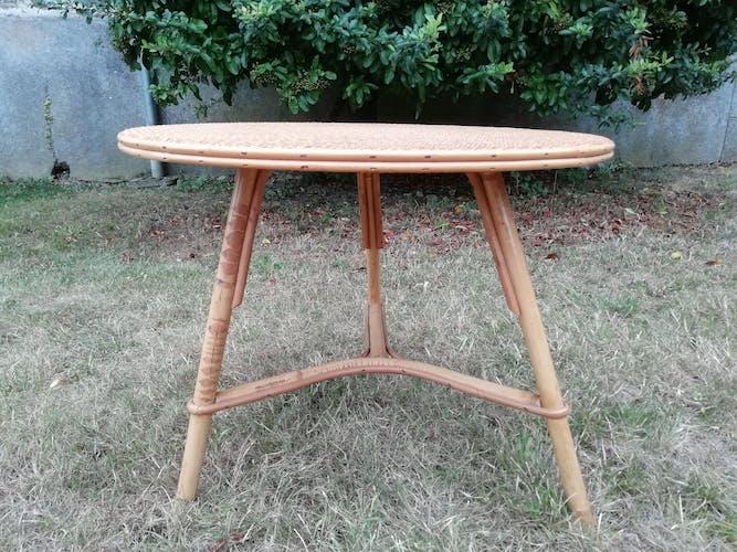 Table basse rotin ronde trépied vintage