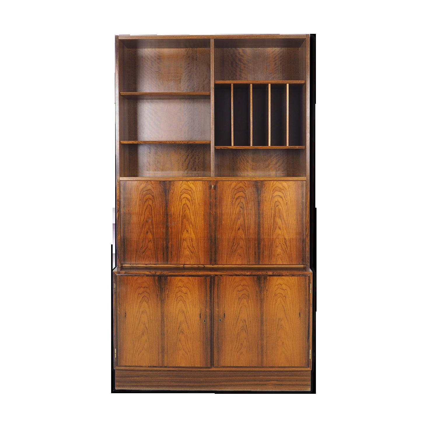 Bibliothèque de bois de rose avec un bureau par carlo jensen pour