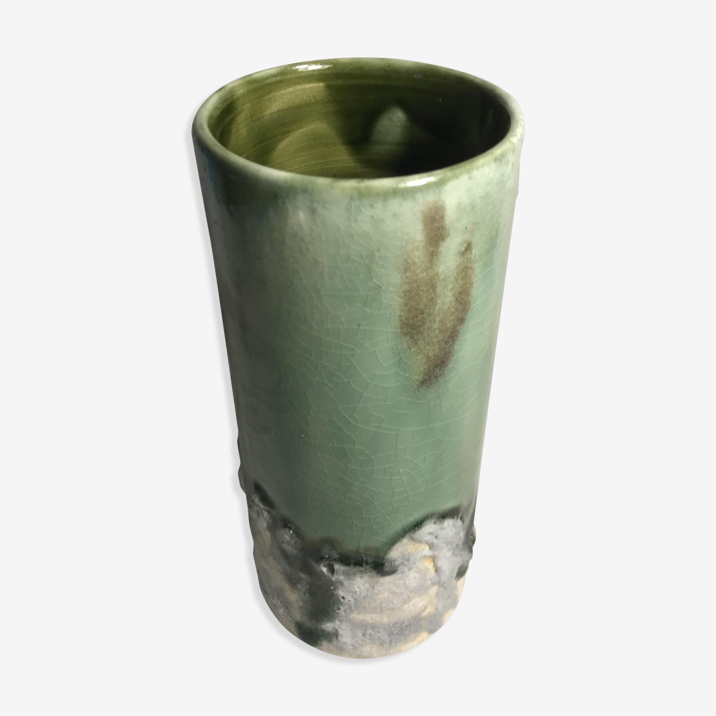 Vase rouleau ancien céramique émaillée vert