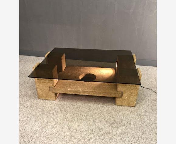 Table Basse En Travertin Et Verre Fume 1960 Roche Bobois Selency