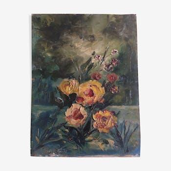 Fleurs au jardin un soir d'orage huile sur bois années 50s signé