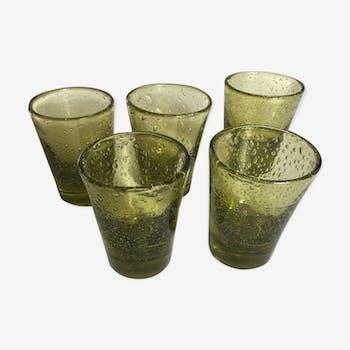 Set of 5 glasses olive khaki green biot cups