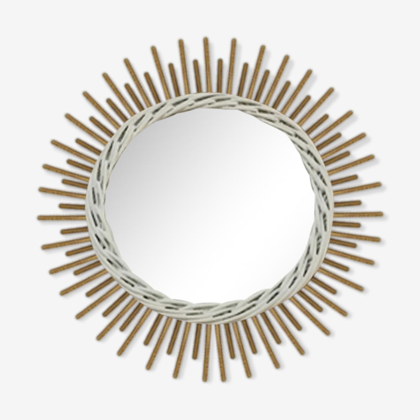 Sun rattan mirror 40x40cm