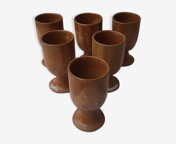 Set of 6 vintage sandstone mazagrans