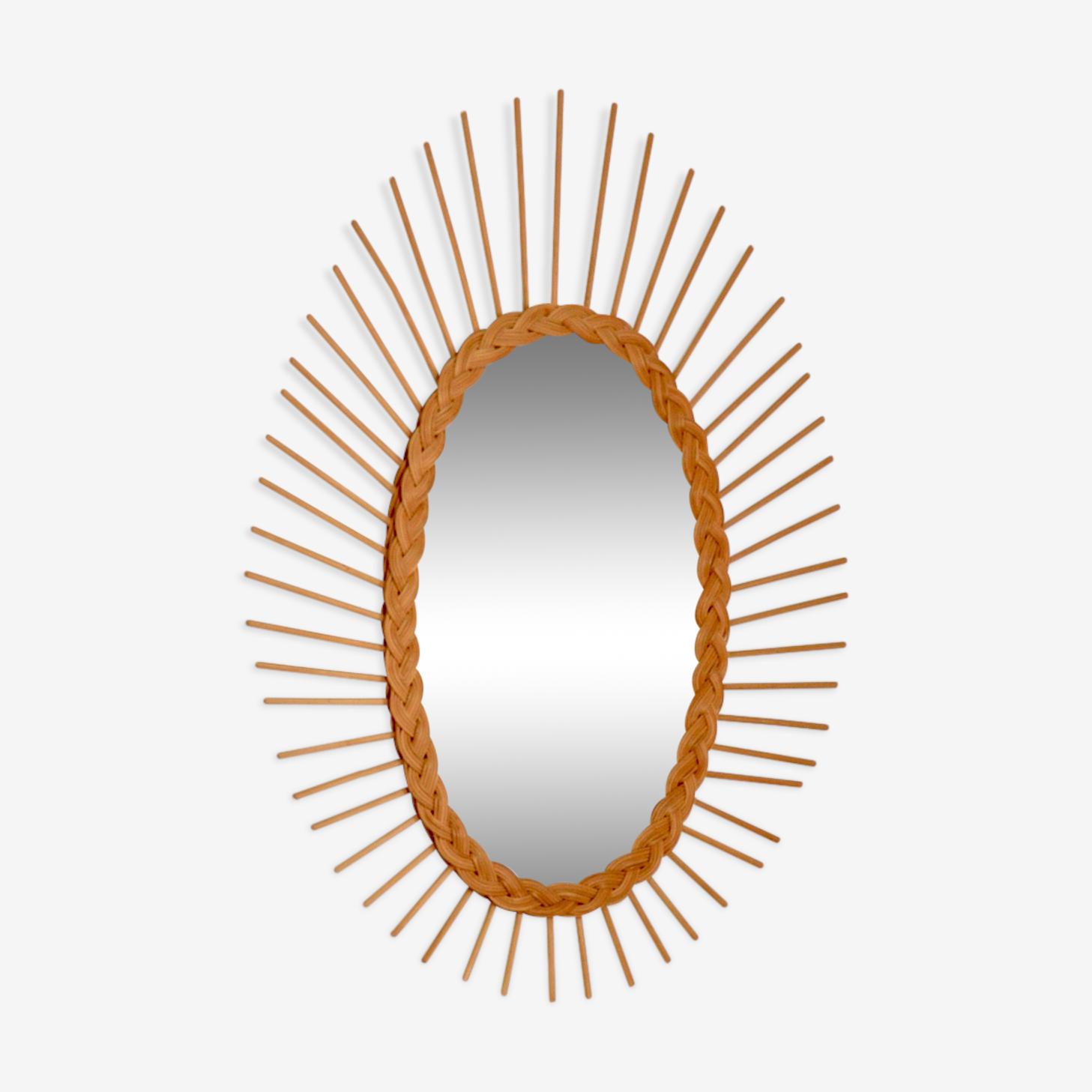 Miroir soleil ovale en rotin 1960 62x45cm
