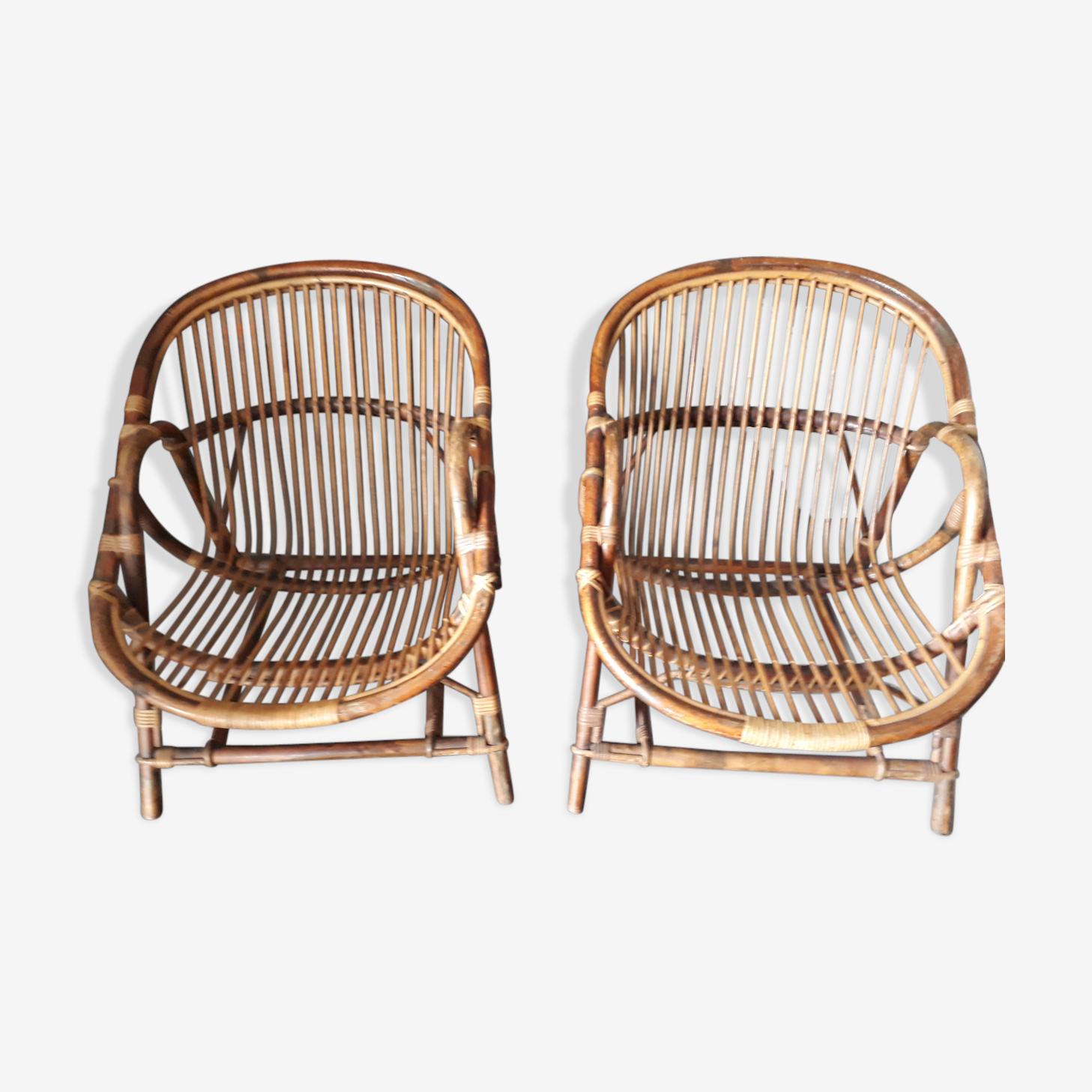 Lot 2 fauteuils rotin