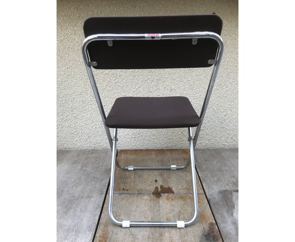 Paire chaises pliantes anciennes Framar métal chromé avec tissu marron 70's vintage