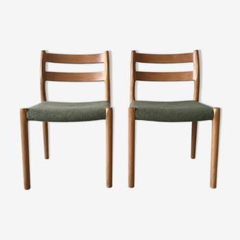 Pair of chairs by JL Moller for Hojbjerg Denmark 1960s teak