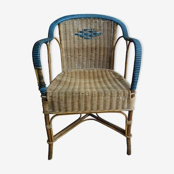 Vintage two tone rattan chair