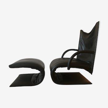 Fauteuil zen en cuir haute qualité, design Claude Brisson, ligne Roset