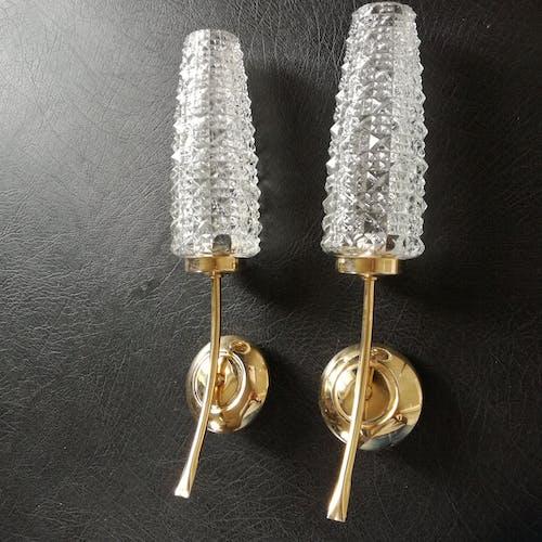 Appliques en métal doré et en verre des années 1950