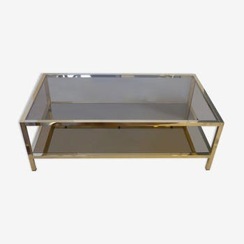 Coffee table in gold metal with two glass and mirror plates