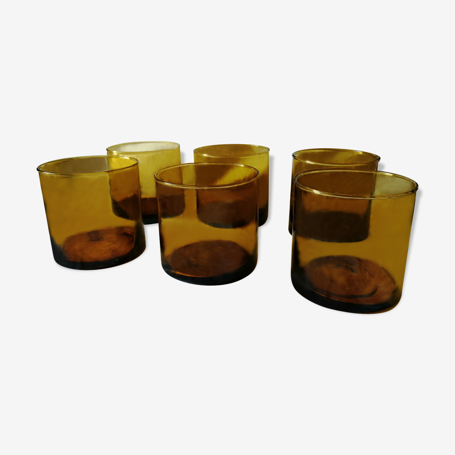 Serie of 6 yellow amber whisky glasses years 70