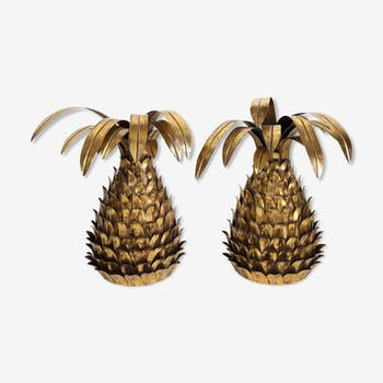 "Ananas  wall light  paire  years 70"" in gold metal"