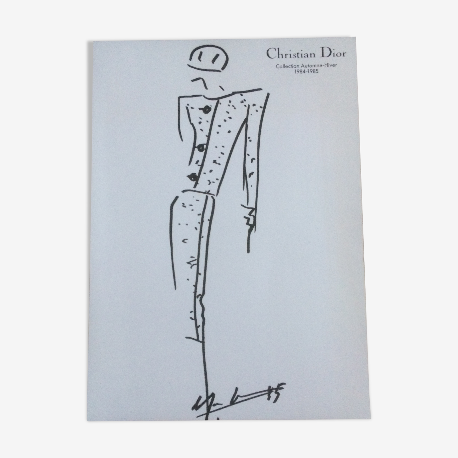 Press fashion sketch with a press photograph 1980