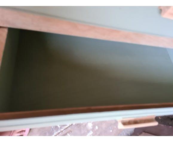 Commode en chene plateau et structure laissez brut côté facade tiroir et intérieur couleur  boa