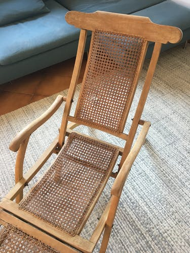 Chaise longue de pont de bateau cannée