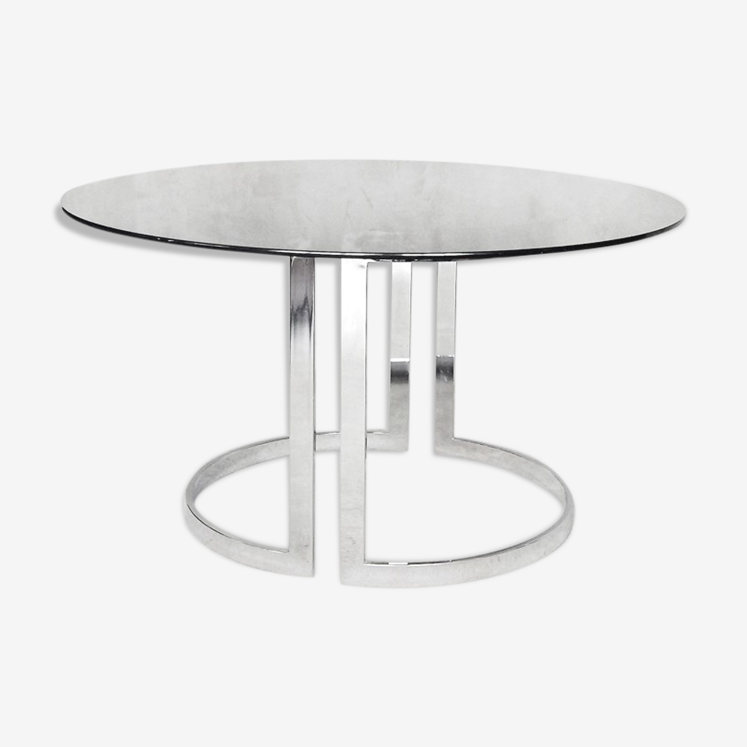 Glass round dining table by Milo Baughman 1970s