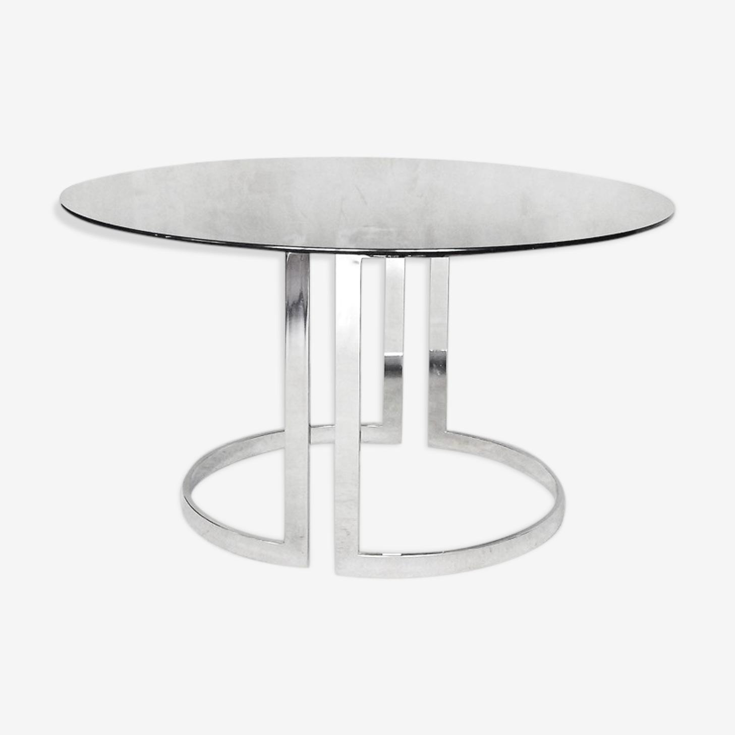 Table de salle à manger ronde en verre par Milo Baughman 1970