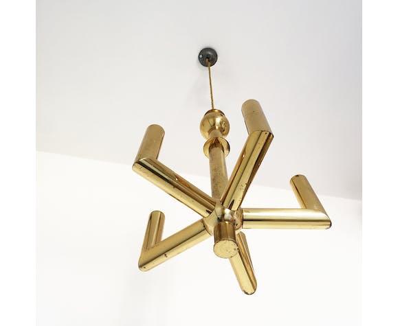 Five branch brass pendant lamp hollywood regency
