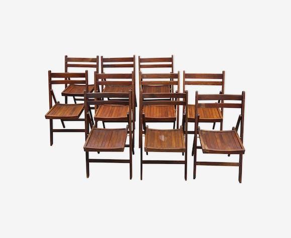 Série de 10 chaises pliantes en bois des années 50