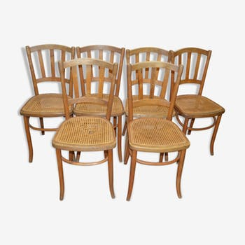 Set of 6 Bistro chairs cane